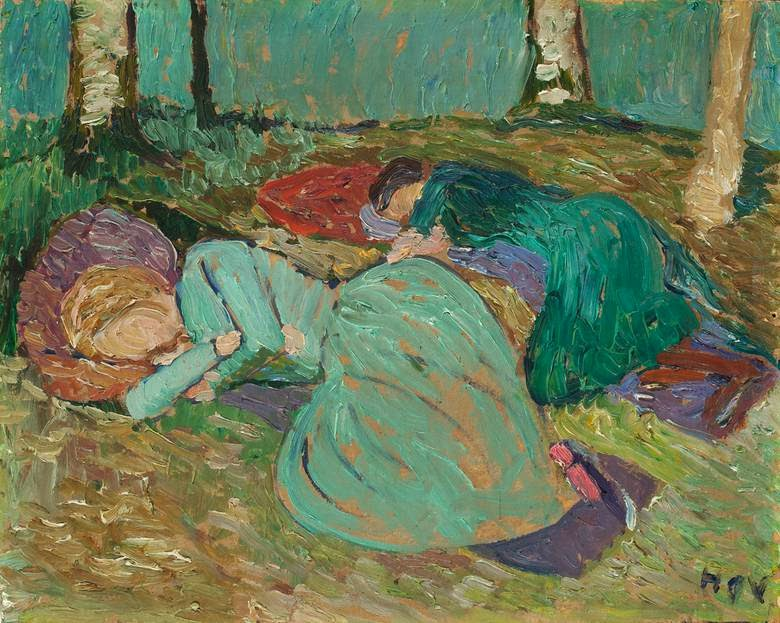 Paula Modersohn-Becker - Martha Vogeler und Paula Modersohn-Becker im Garten schlafend