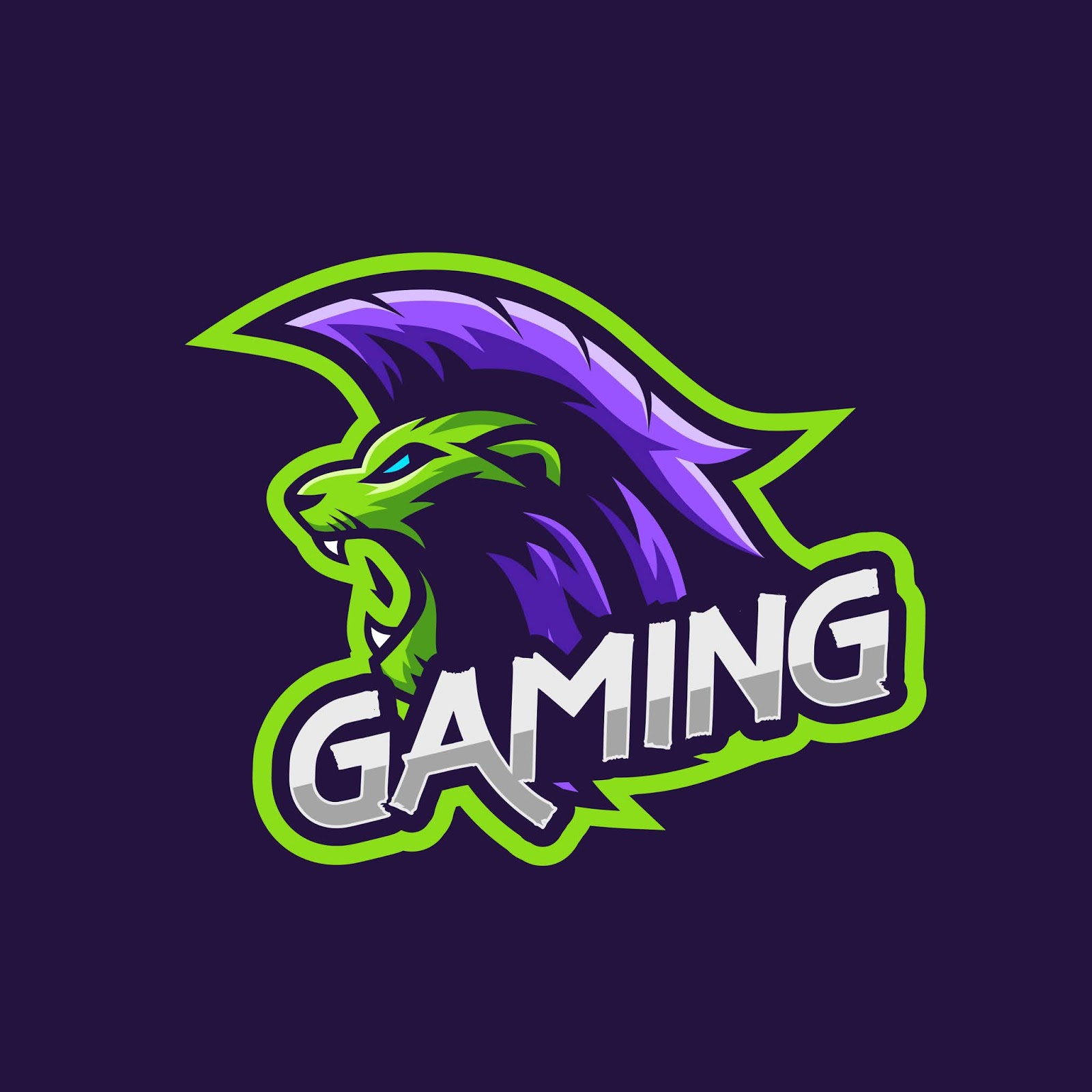 Lion With Punk Hair Style Gaming Squad Logo Free Download Vector CDR, AI, EPS and PNG Formats