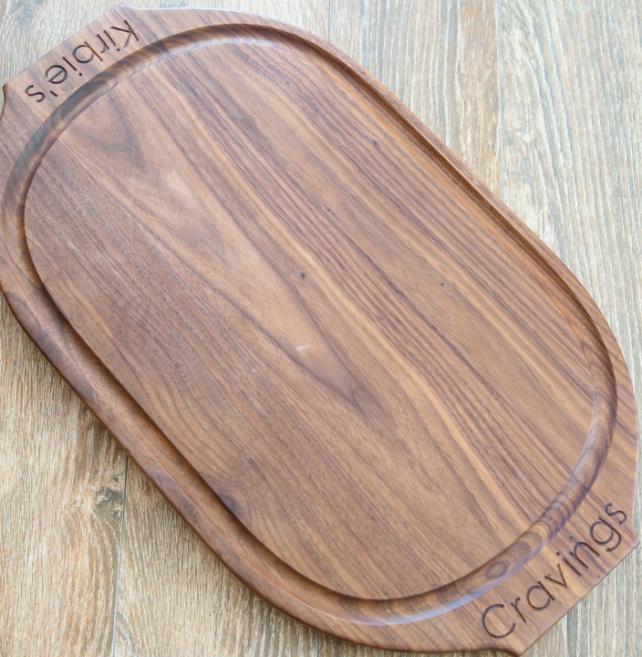 overhead photo of a customized cutting board