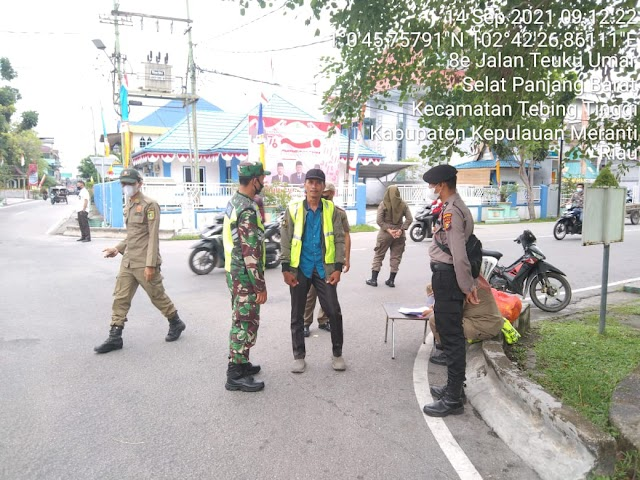Koramil 02 / Tebing Tinggi bersama Tim Gabungan  Melakukan Operasi Yustisi Prokes Kecamatan Tebing Tinggi