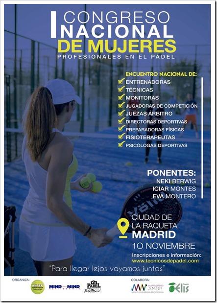 I Congreso Nacional de Mujeres Profesionales del Pádel el 10 de Noviembre 2018 en Madrid.