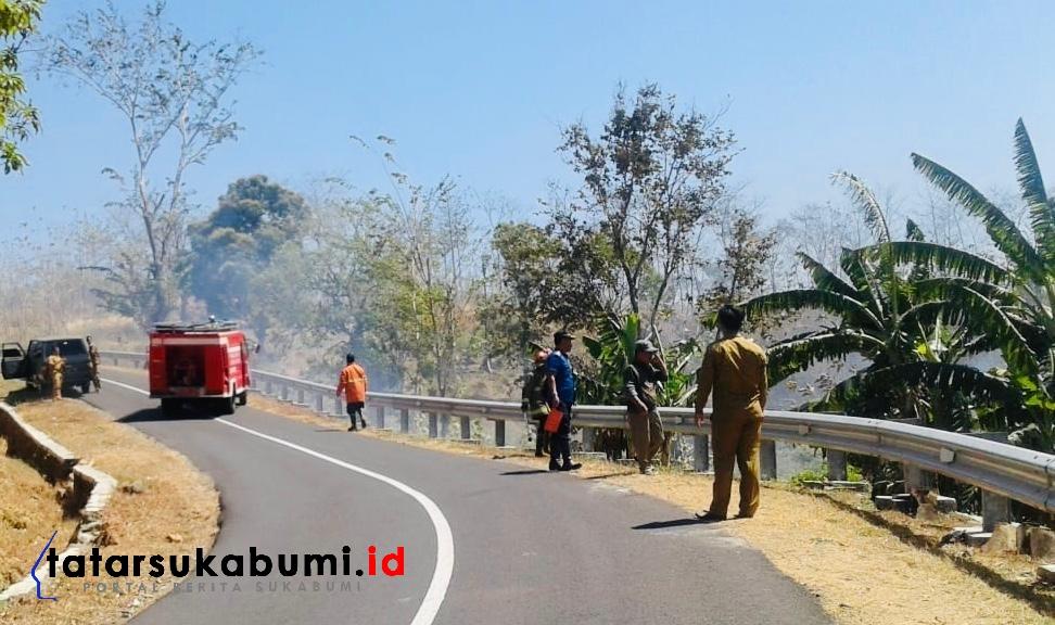 8,5 Hektare Lahan Ilalang Hutan Jati dan Albasiah di Ciemas Sukabumi Terbakar