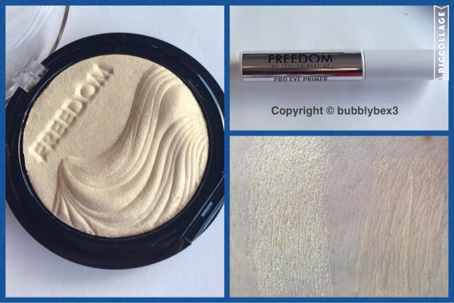 close up and swatches of the freedom makeup highlighter and eye primer