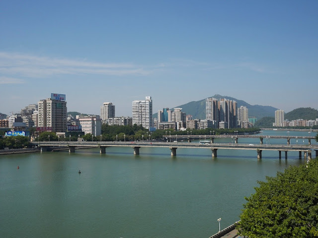 view of the Wujiang River from a window in Shaoguan, Guangdong