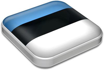 Flag of Estonia with metallic square frame