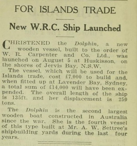 pacific island monthlyt article about the launch of the dolphin - article 1936
