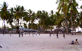Kids playing football in Jambiani