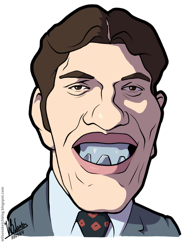 Cartoon caricature of Richard Kiel as Jaws from the James Bond movies.