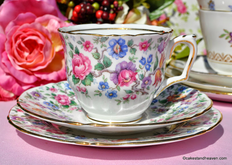 Crown Staffordshire Springtime Teacup Trio c.1930s