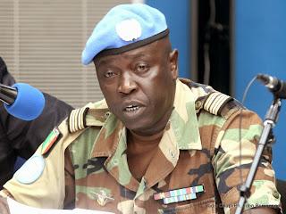 Le porte-parole militaire de la mission onusienne, le lieutenant-colonel Félix Basse le 23/04/2014 a Kinshasa, lors de la conférence de l'Onu. Radio Okapi/Ph. John Bompengo
