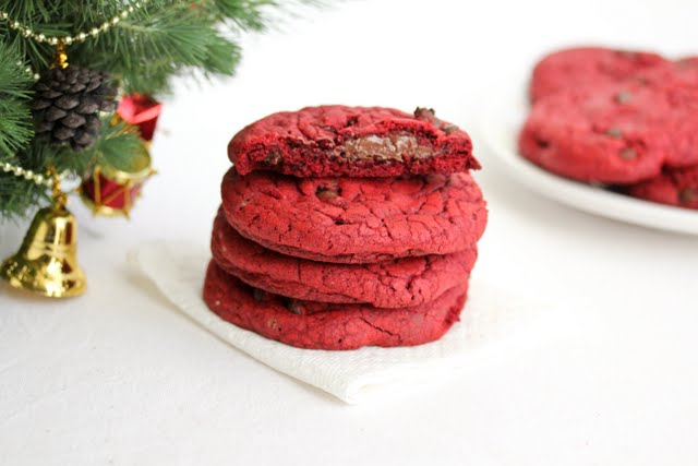 close-up photo of a stack of Nutella filled Red Velvet Cookies