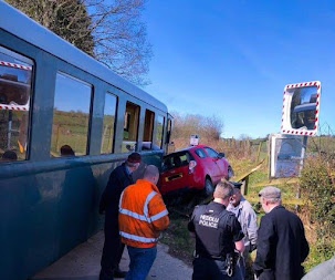Car, train collide on Llanfair Ginny