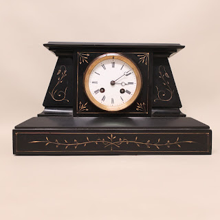 19th C Basalt Mantle Clock
