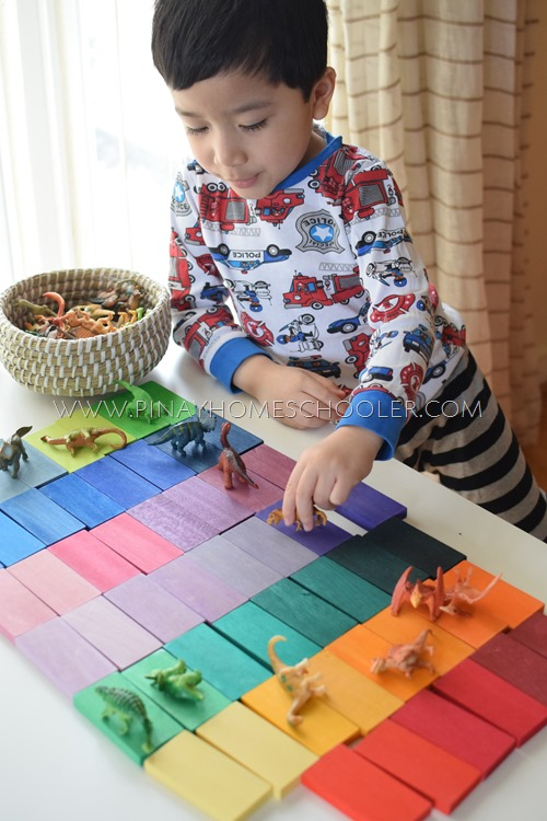 DINOSAUR COLOR SORTING WITH GRIMM'S COLOR CHARTS
