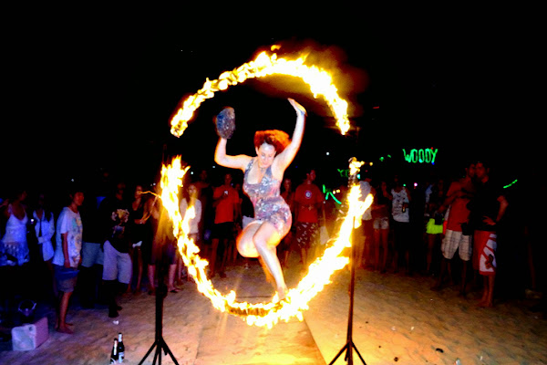 Jump through a ring of fire on Phi Phi Don