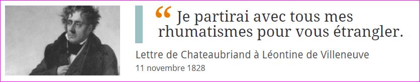 Lettre de Chateaubriand à Léontine de Villeneuve
