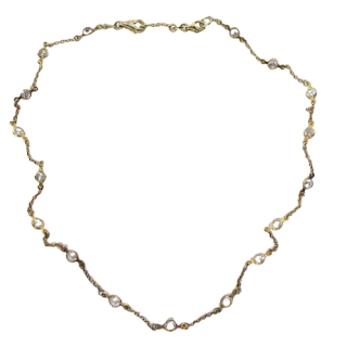 Sterling Silver Vermeil & Clear Stone Necklace