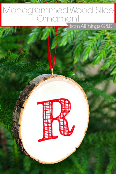 monogrammed wood slice ornament