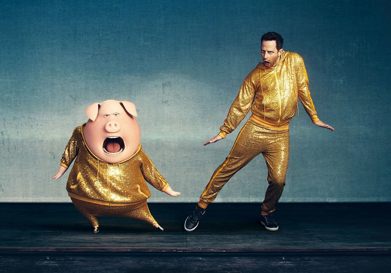 Nick Kroll and his SING character, Gunter. (Photo courtesy of Illumination Entertainment and Universal Pictures).