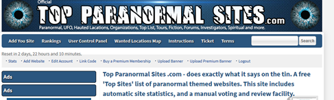 PANICd.com Back on Top Paranormal Sites – Please Vote for Us