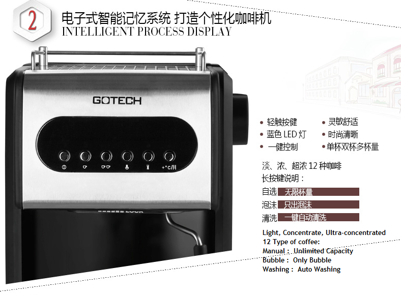 Affodable Gotech coffee machine with push button control