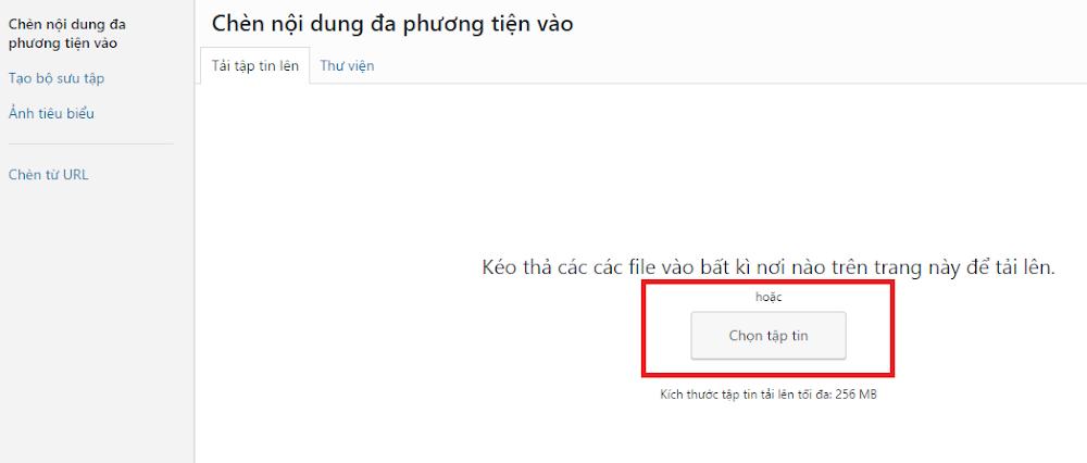 Hinh anh: Khu vuc chon tap tin va tai len thu vien cua WordPress