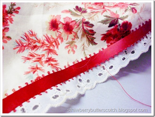 Preview of next projects using red floral fabric, lace, and ribbon.