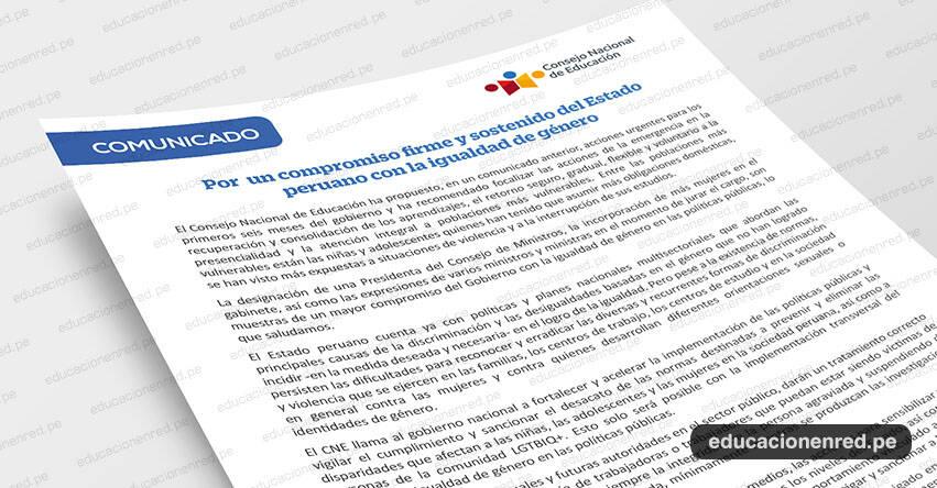 COMUNICADO CNE: Por un compromiso firme y sostenido del Estado peruano con la igualdad de género - www.cne.gob.pe