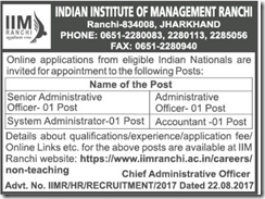 IIM Ranchi Non-Teaching Posts 2017 www.indgovtjobs.in
