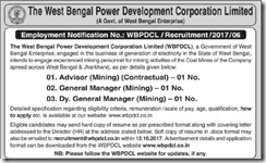 WBPDCL Employment Notice 2017 www.indgovtjobs.in