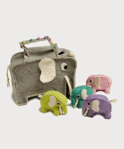 En Gry and Sif Elephant bag with four baby elephants