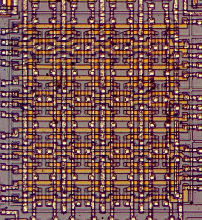 The register file in the 8008. The chip has seven 8-bit registers: A, B, C, D, E, H, L
