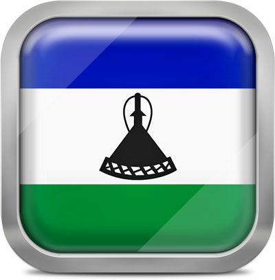 Lesotho square flag with metallic frame