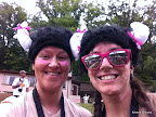 Post race in our viking helmets, fittingly bedecked with pink ribbons. (iPhone pic)
