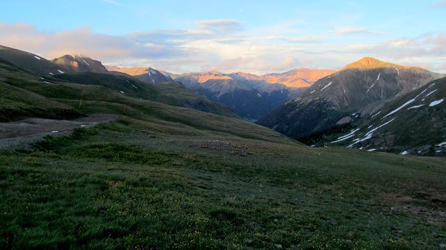 Last sunlight on the peaks east of Cinnamon Pass