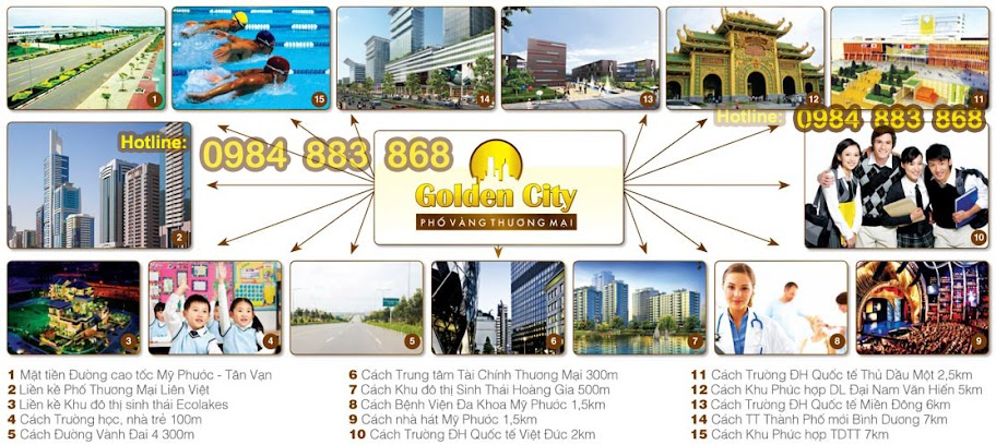 Sơ đồ tiện ích - Golden City - Phố vàng thương mại