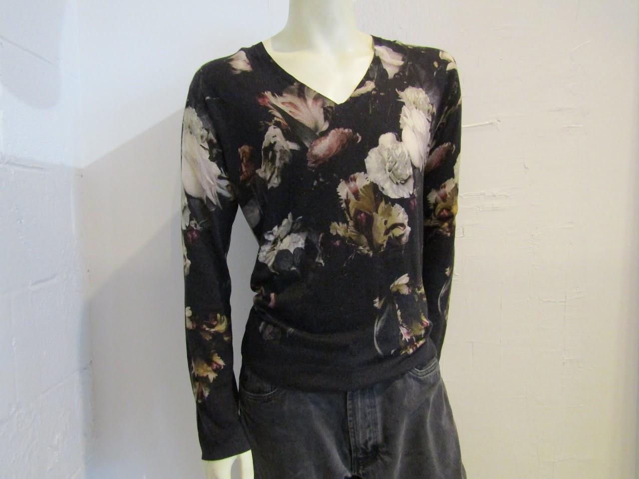 Alexander McQueen V-Neck Floral Sweater