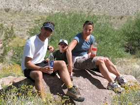 Dave, Joey and Holly take a break in RockHouse Canyon.