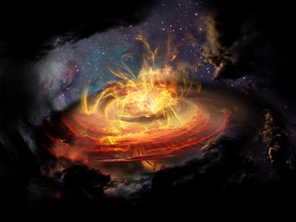 ilustração das linhas do campo magnético próximas de protoestrela