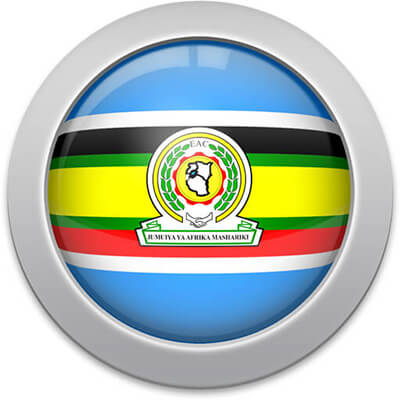 East African Community flag icon with a silver frame