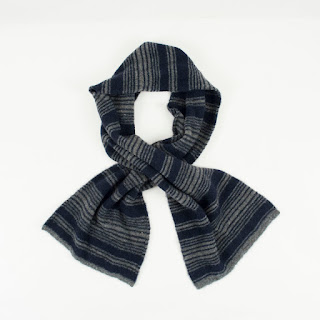Saks Fifth Avenue Navy Stripe Scarf