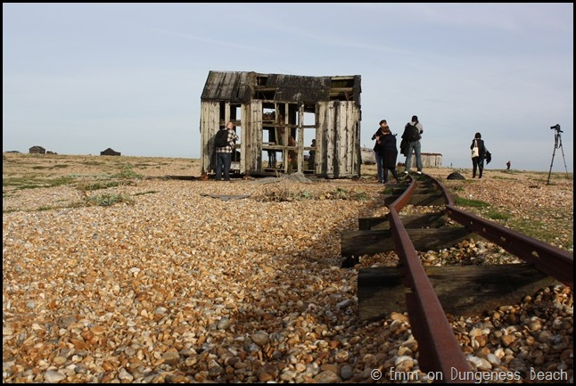 Hut and tracks on Dungeness beach
