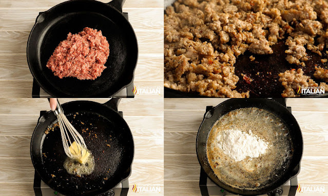 photo collage: sausage fried in skillet and removed, add butter to skillet, add flour to skillet