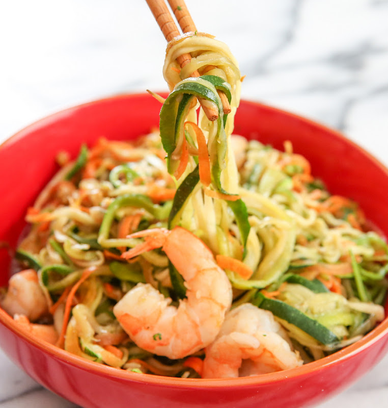 photo of chopsticks holding Stir Fried Zucchini Noodles