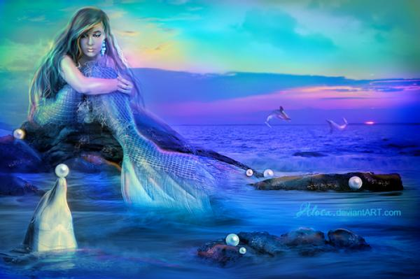 Dolphin Mermaid Pearls Ocean, Undines
