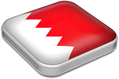 Flag of Bahrain with metallic square frame