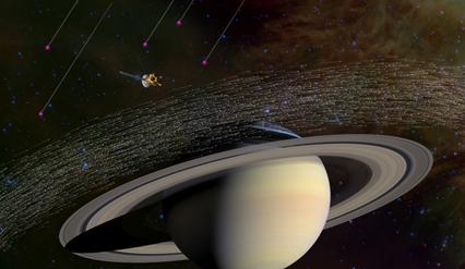 ilustração de grãos interestelares inteceptados por Saturno