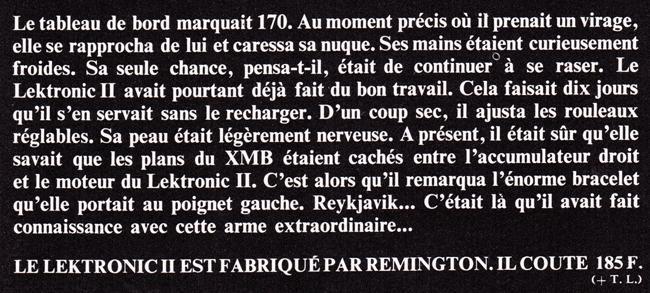 Publicité vintage : Sa peau était légèrement nerveuse (Lektronic II  - Remington). - Pour vous Madame, pour vous Monsieur, des publicités, illustrations et rédactionnels choisis avec amour dans des publications des années 50, 60 et 70. Popcards Factory vous offre des divertissements de qualité. Vous pouvez également nous retrouver sur www.popcards.fr et www.filmfix.fr