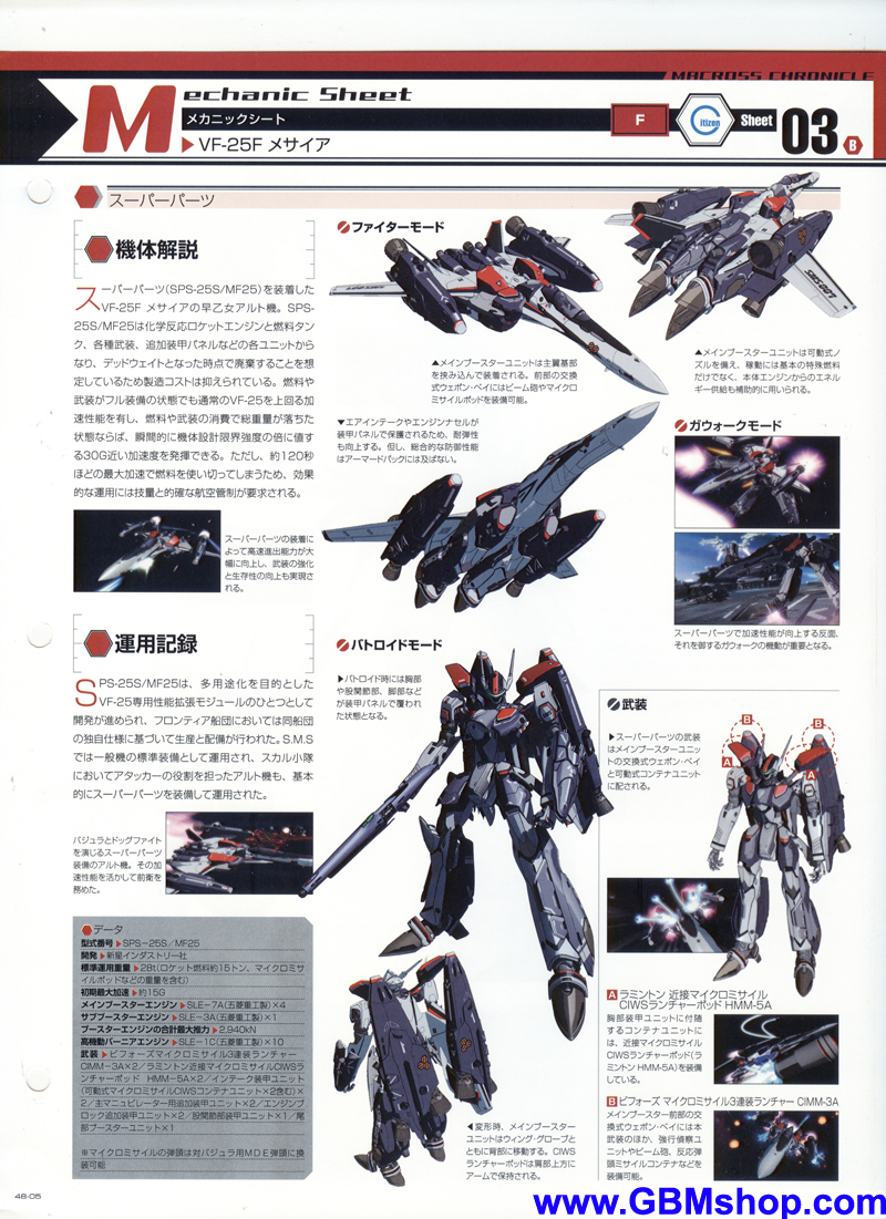 Macross Frontier VF-25F Messiah Mechanic & Concept Macross Chronicle