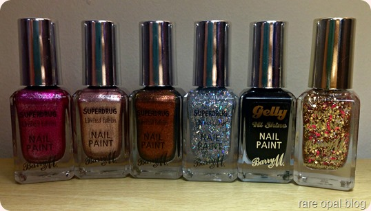 Barry M Polishes in Nutcracker, Twinkle Twinkle, Gingerbread, Icicle, Blackforest and Jingle Bells Nail Polish